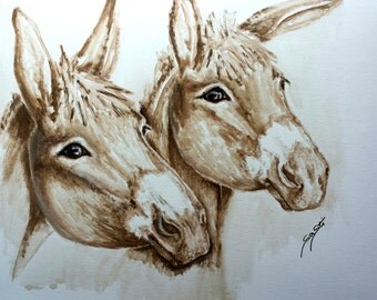 Donkey duo - fine art print, acrylic, animal, animal pictures, acrylic paintings, animal portrait, donkey, pressure