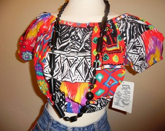 Vintage dead stock 90's boho colorful funky crop top by Paradise Moon