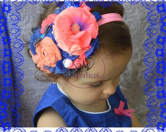 Headband for baby in soft pink and blue