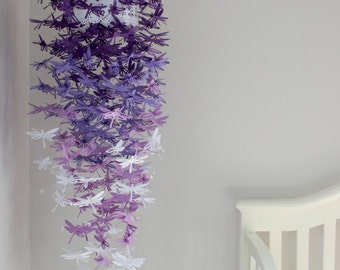 Dragonfly Crib Mobile. Dragonfly Mobile. Purple, White. Baby shower, Gift, Room Decor, Home Decor, Baby Nursery, Birthday, Photoshoot