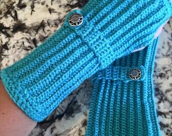 Mermaid fingerless gloves with wrist strap