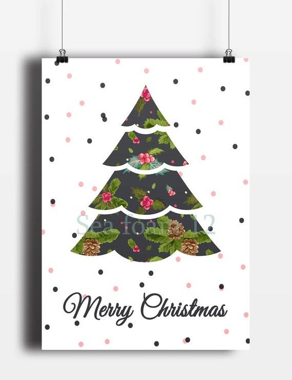 Christmas Card Wall Decor : Merry christmas card tree wall art deer by