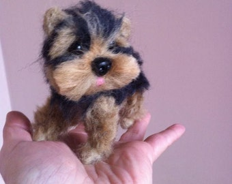 Ooak needle felted sculpture puppy yorkie