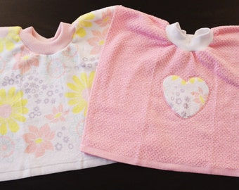 Baby Bibs, Baby/Toddler Tea Towel Bibs with Heart Applique, Toddler Bibs