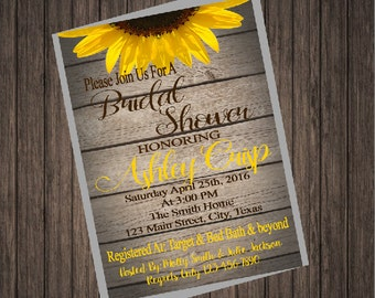Sunflower Shabby Chic Bridal Shower Invitation