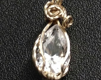Gold plated Wrapped Cubic Zirconia Pendant