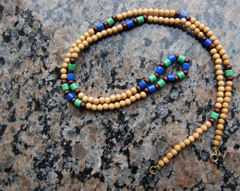 Vintage Wood and Glass Bead Necklace - Long - Blue, Green, Brown, Natural Wood