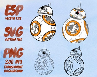 Star wars  BB 8 Clipart , SVG Cutting , ESP Vectors files , T shirt , iron on , sticker ,Personal Use