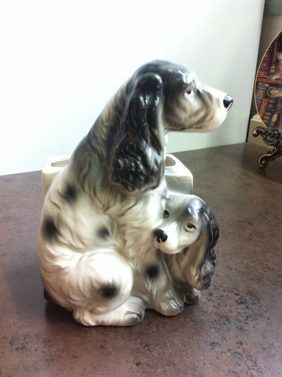 Vintage Dog Planter Esd Japan Hand Painted Ceramic Spaniel