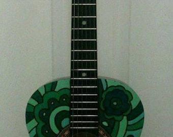 Handpainted Acoustic Guitar - playable