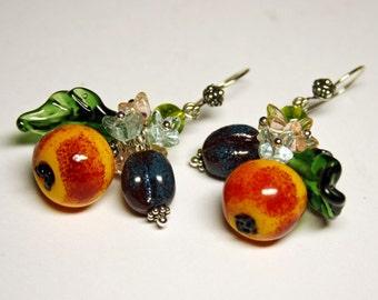 Handmade lampwork earrings,  glass fruit earrings, earrings with fruit and leaves, silver 925 fittings