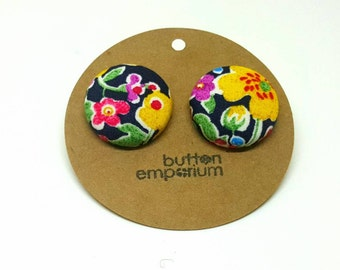 black floral fabric button earrings