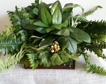Foliage Table Arrangements, Faux Greens Arrangement, Chest of Greenery,  Faux Greenery, Table Decor Greenery, Handmade Artificial Greenery,