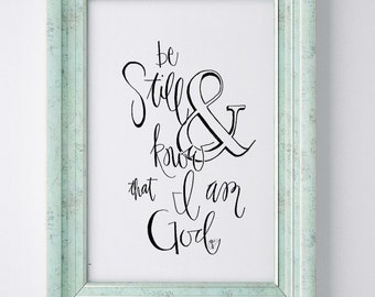 Scripture Art Print - Psalm 46:10 - Be Still and Know