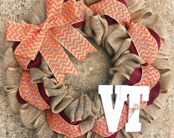 Virginia Tech Wreath, Fall Wreath, Hokies Wreath, Virginia Tech Hokies, Virginia Tech Burlap Wreath, House Divided Wreath, Football Wreath