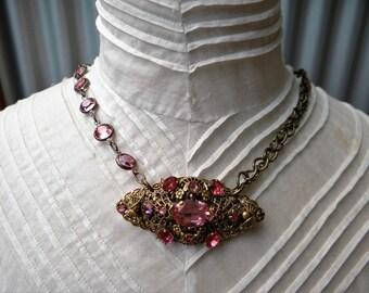 1920's Pink Diamante Filigree Brooch with Pink Swarovski Crystal Brass Chain Assemblage Necklace - NRU100