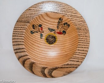 Ash platter with pyrographed birds