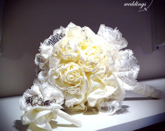 Handmade lace flower Bouquet with Groom's Boutonniere