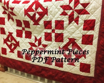 PDF Quilt Pattern, Quilt Pattern, Red and White Twin Quilt Pattern PDF, Quilt Pattern PDF, Star Quilt Pattern, Pinwheel Quilt Pattern