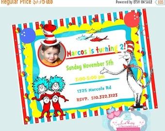 ON SALE Dr Seuss Birthday Invitation, Dr Seuss invite, Dr Seuss digital invitation