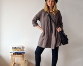 Oversized Tunic, Linen Tunic Dress, Dark greyish brown linen tunic, womens tunic, plus size tunic, tunic tops, linen tunics for women shirt
