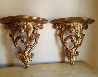 Ornate Vintage Wall Gold Shelves by Syroco USA 1965