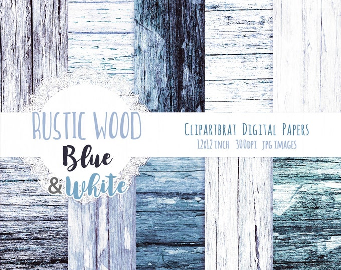 BLUE & WHITE WOOD Digital Paper Pack Commercial Use Digital Background Distressed Barn Wood Paper Painted Wood Grain Scrapbook Paper Pack