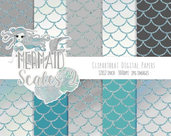 MERMAID DIGITAL PAPER Commercial Use Digital Backgrounds Silver Teal Gray Aqua Metallic Girly Fish Scales Printable Digital Scrapbook Paper