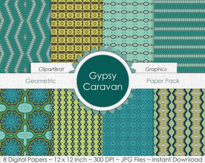 Gypsy Caravan AQUA & GRAY Digital Paper Pack Commercial Use Digital Background Paper Geometric Boho Paper Party Printable Scrapbook Paper