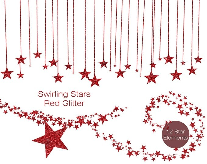 RED GLITTER STAR Clipart Commercial Use Clipart Metallic Red Glitter Stars Digital clip art Star Banner Garland Bunting Frame Sky Clipart