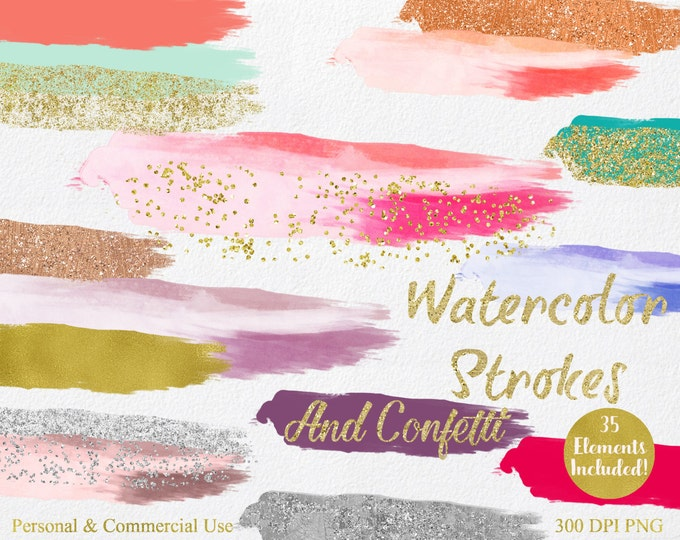 WATERCOLOR & GOLD PAINT Strokes Clipart Commercial Use Clipart 35 Watercolor Brush Splotch Gold Confetti Watercolor Textures Logo Clip Art