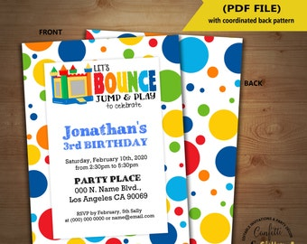 Bounce birthday party invitation jump trampoline party invite Instant Download editable text printable invite 5205