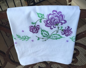 Vintage pillowcase with embroidery-purple flowers