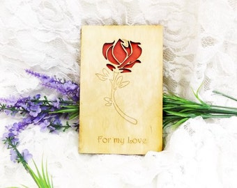 Love Card, Anniversary Card, Valentine's Day Card,gift card,wooden card