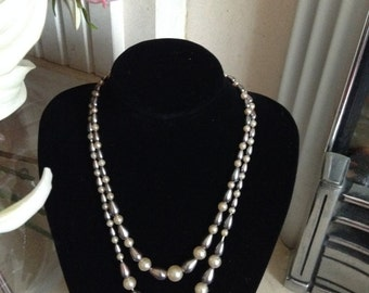 20% OFF 1950s Two Strand Faux Pearl Silver and Cream Glass Necklace
