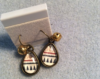 Winter earrings with gold jingle bell charm