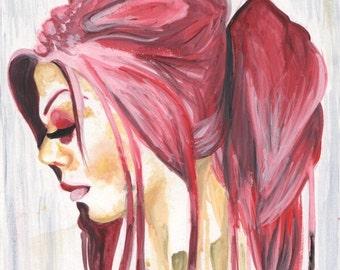 "Surreal Art Print, Watercolor Art, Profile, ""Acidic,"" Home Decor, Gift"