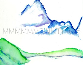 Purple Mountains Majesty watercolor print