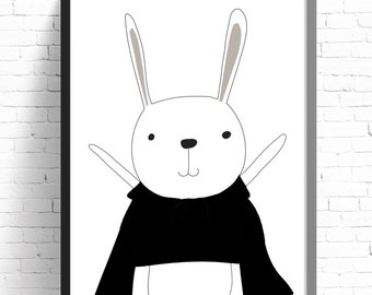Monochrome Superhero Bunny Print - Nursery Print - Kids Room Wall Art - A4 Print - 8x10 Print - Monochrome - Black & White - Rabbit