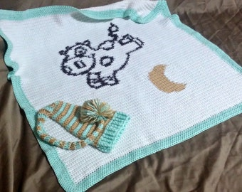 Baby Blanket & Hat Set Cow Jumped Over the Moon Baby Shower Gift, Crochet Animal Blanket, Personalized gift set