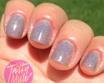 Pi Beta Alpha - grey nail polish with neon glitter