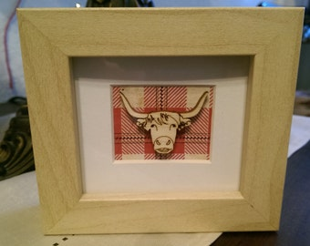 Scottish Inspired Tartan Highland Cow Frame - Freestanding
