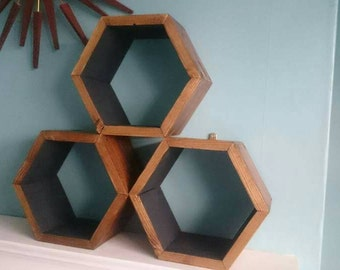 Handmade geometric hexagon shelves from reclaimed timber wood
