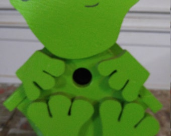 Frog, birdhouse, custom paint