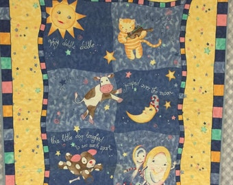 Baby Quilt,The Cow Jumped Over the Moon,  Nursery Rhyme Quilt, Crib Quilt