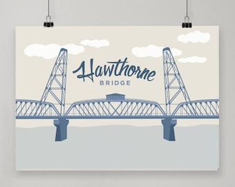 Hawthorne Bridge / Illustrated Print / Portland, Oregon Design