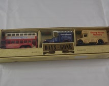 Car model dairy farm vehicles Days Gone originally boxed collection diecast vintage London bus bakery made in England modelcars Lledo Plc