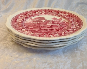 """Set of five (5) Copeland Spode Tower Pink 10 3/4"""" dinner plates old mark discontinued"""
