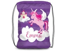 Unicorn Drawstring Backpack - Purple Stripe Unicorn Bag, Magical Pink Unicorn Personalized Backpack, You Pick Color - Kids Personalized Gift