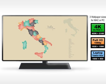 Italy 3x computer wallpaper map ++ 4K ++ Full HD ++ Laptop size